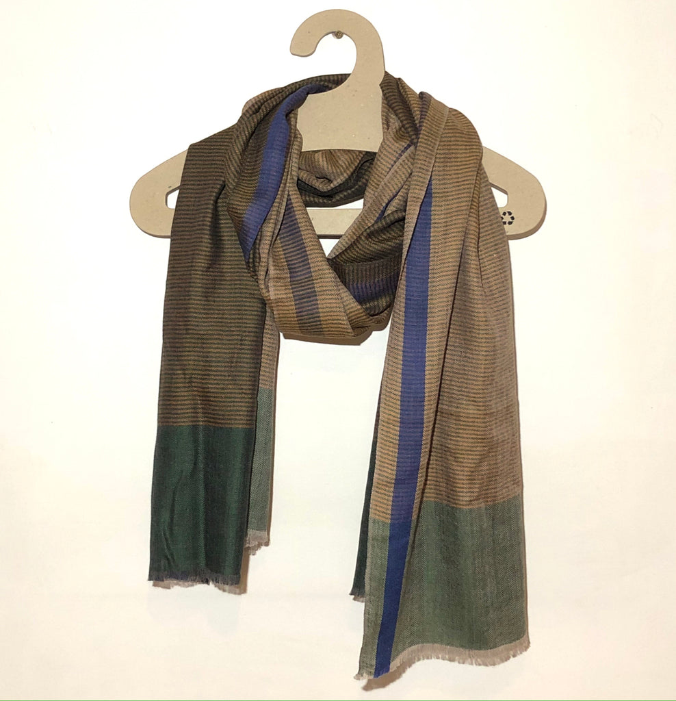 Green striped merino scarf