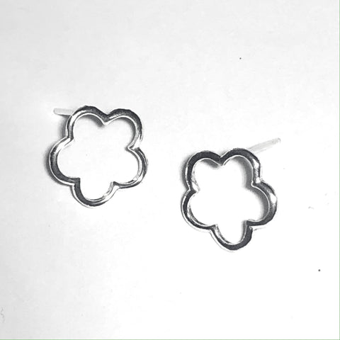 Silver flower outline studs (large)