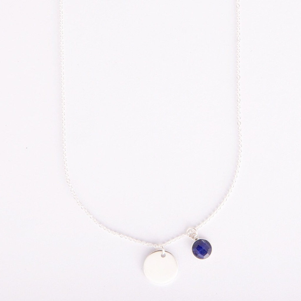Gem and charm necklace (sapphire)