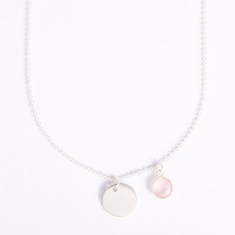Gem and charm necklace (rose quartz)
