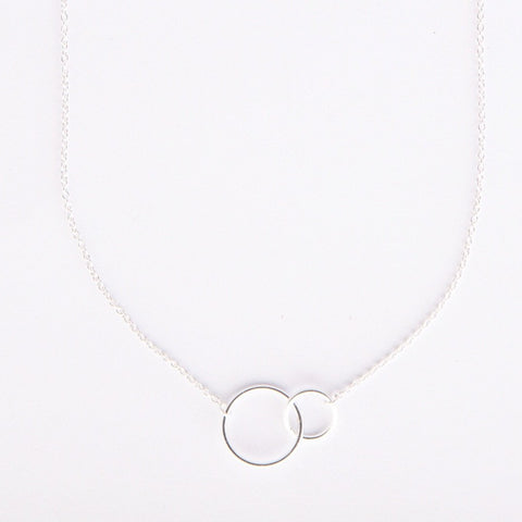 Silver linked ring necklace