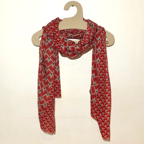 Red deco design merino wool scarf