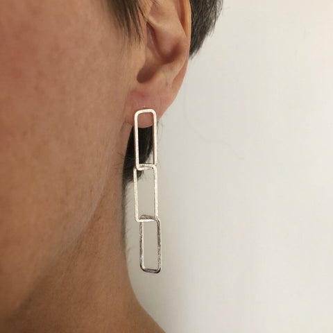 Rectangle linked drop earring