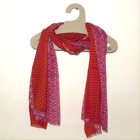 Fuschia & orange merino scarf
