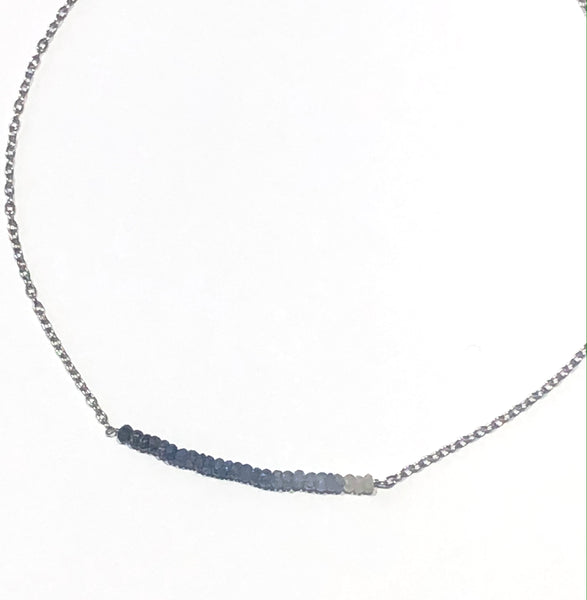 ombre faceted lapis bead gradient necklace