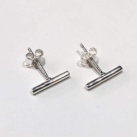 Long silver line studs
