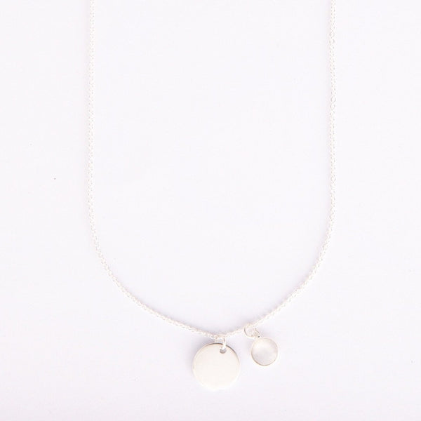 Gem and charm necklace (moonstone)