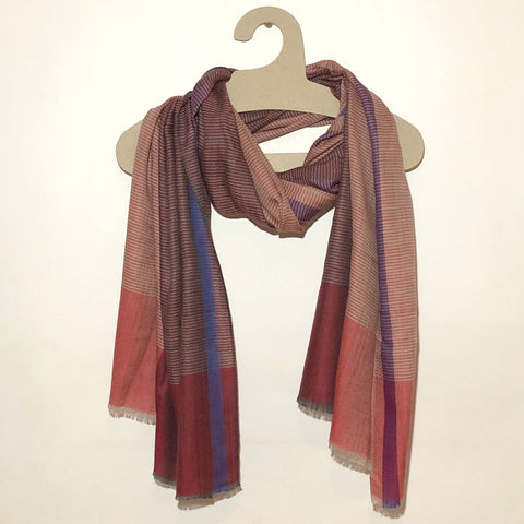 Red & beige stripe merino scarf