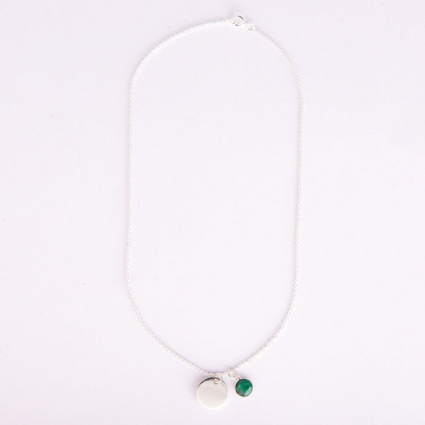 Gem and charm necklace (emerald)