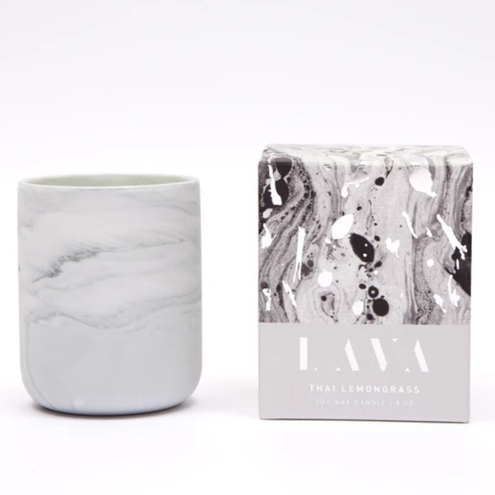 Thai Lemongrass Scented Marbled Candle 4 oz