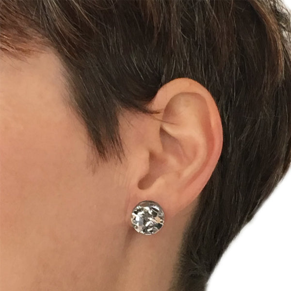 Circle stud - Silver Sparkles Small