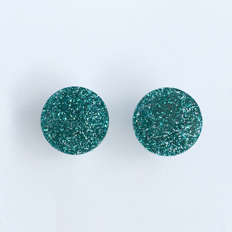 Circle stud - Green Glimmer Medium