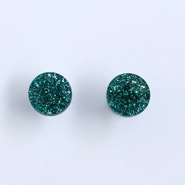 Circle stud - Green Glimmer Small