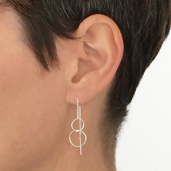 Silver threader earring