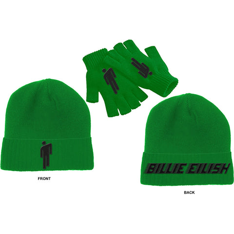 Billie Eilish Beanie Hat & Fingerless Gloves - Blohsh Green