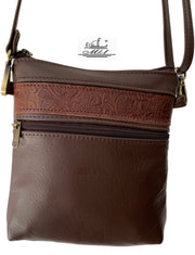 """Afroditi"" - small crossbody bag handcrafted from soft brown leather with light brown snake details WT/389BR"