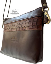 """Athina"" - small classic bag handcrafted from soft brown leather with light brown croco details WT/445BR"