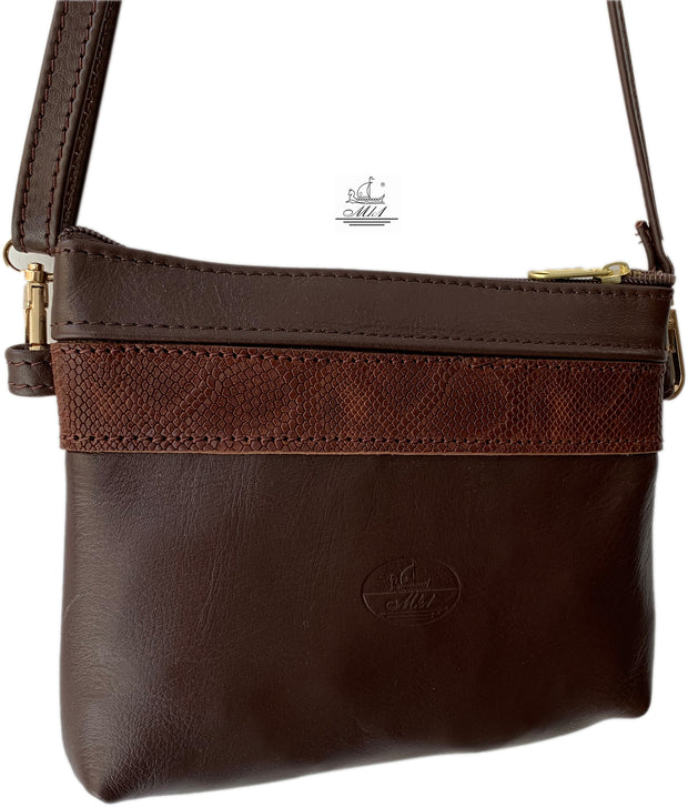 """Athina"" - small classic bag handcrafted from soft brown leather with  brown snake details WT/445BR"