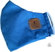 Mask from multi-purpose washable cotton with filter pocket and nose support Mk1/2-1 lgth blue