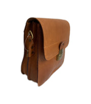 """Ikaros"" - midsize crossbody bag handcrafted from natural light brown leather with square lock WT/52T"