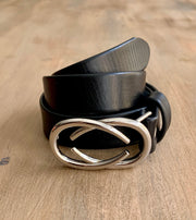 Women's thin belt handcrafted from black soft leather ideal for dresses WB101293/25