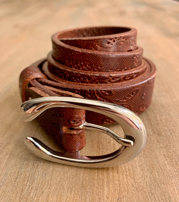 Women's thin belt handcrafted from light brown natural leather with flower 2 design WB101294/25LD