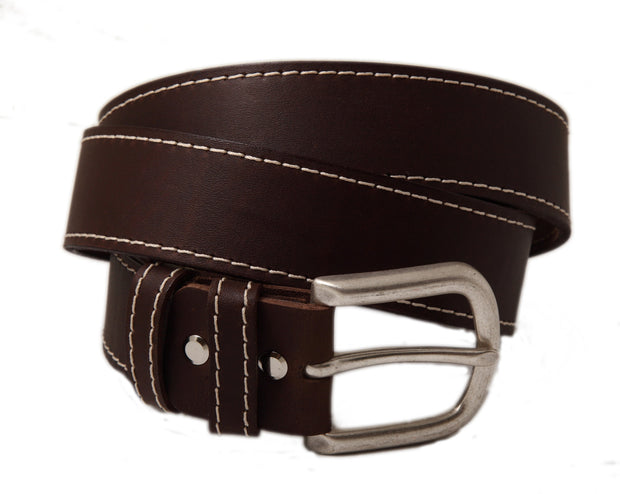 Casual handmade leather belt with white sticking WS/40