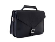 """Orestis"" - small briefcase handcrafted from natural black leather WT/87"