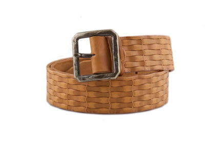 WS23/40 Handmade leather belt with design