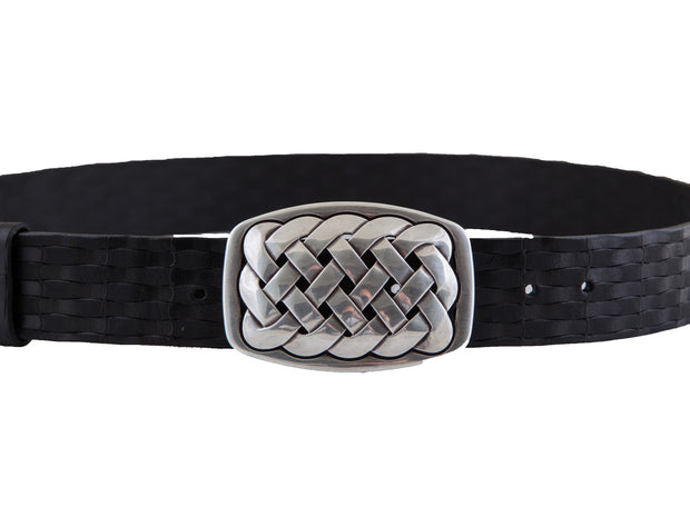 Belt for jeans handcreafted from natural leather with relied design WS32/40