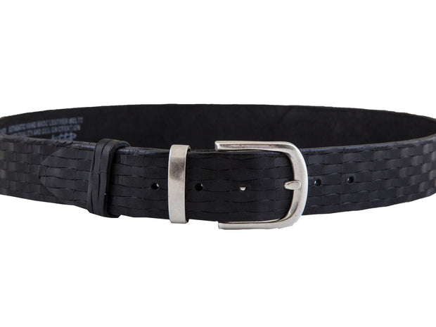 WS34/40 Handmade casual leather belt in black color