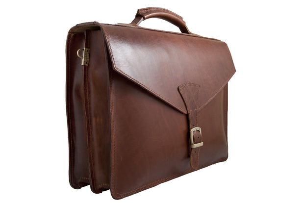 """Odysseas"" A4 briefcase handcrafted from natural brown leather WT/43K"