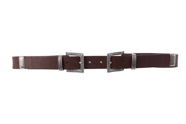 WW412/30 Belt in brown leather with an impressive dοuble set of metallic buckle