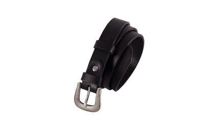 WW406/25 Belt in black  leather with an impressive 2.5cm width buckle