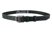 WW408/25 Belt in dark green leather with an impressive 2.5cm width buckle.