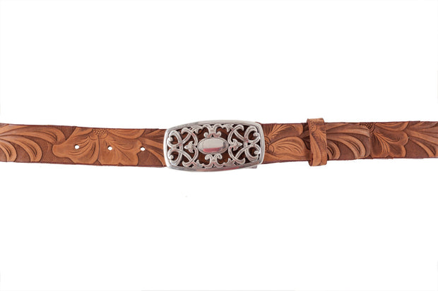 WW419/30  Belt in light brown color with relief design