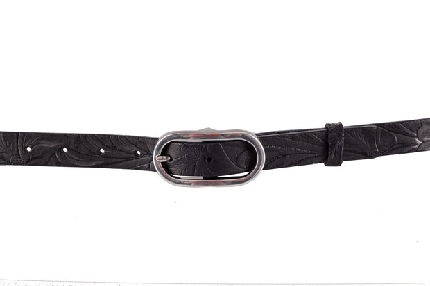 WW422/25 Belt in black color with relief design and a beautiful 2.5cm width buckle