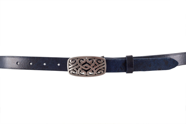 WW424/25 belt in antique Black&Blue leather with an impressive 2.5cm