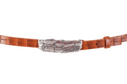 WW425/20 Premium belt in camel leather with relief design