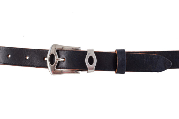 WW428/25 Premium belt in antique black&blue leather