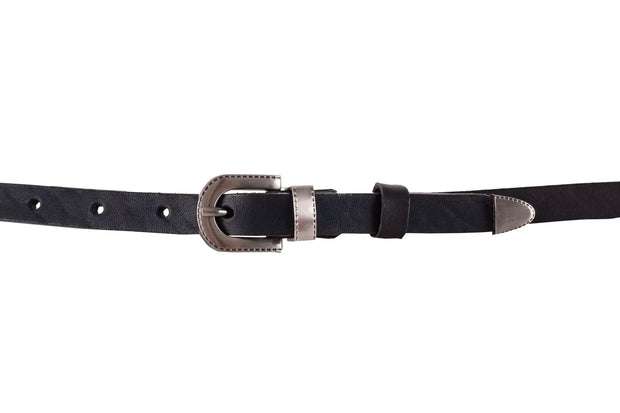 WW431/15 Belt in black leather with  an impressive set of mettalic buckle