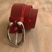 Women's 4cm wide belt handcrafted from red natural leather with snake design WB101294/40GFD