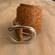 Women's 4cm wide belt handcrafted from light brown natural leather with flower design WB101294/40LD