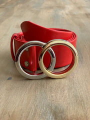 Women's 4cm wide belt handcrafted from red soft leather ideal for dresses WB101293/40