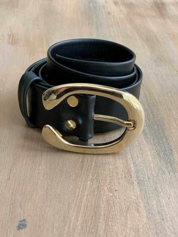 Women's 4cm wide belt handcrafted from soft black leather ideal for dresses WB101294/40G