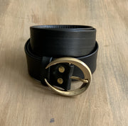 Women's 4cm wide belt handcrafted from soft black leather ideal for dressesWB10589/40G