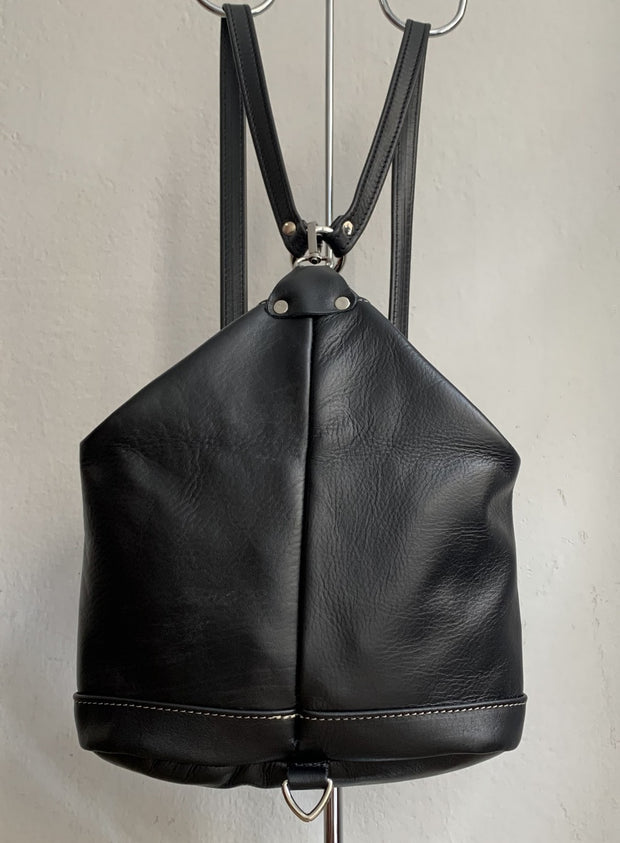 """Argo"" - small backpack handcrafted from soft black leather with grey stitching details WT/67MG"