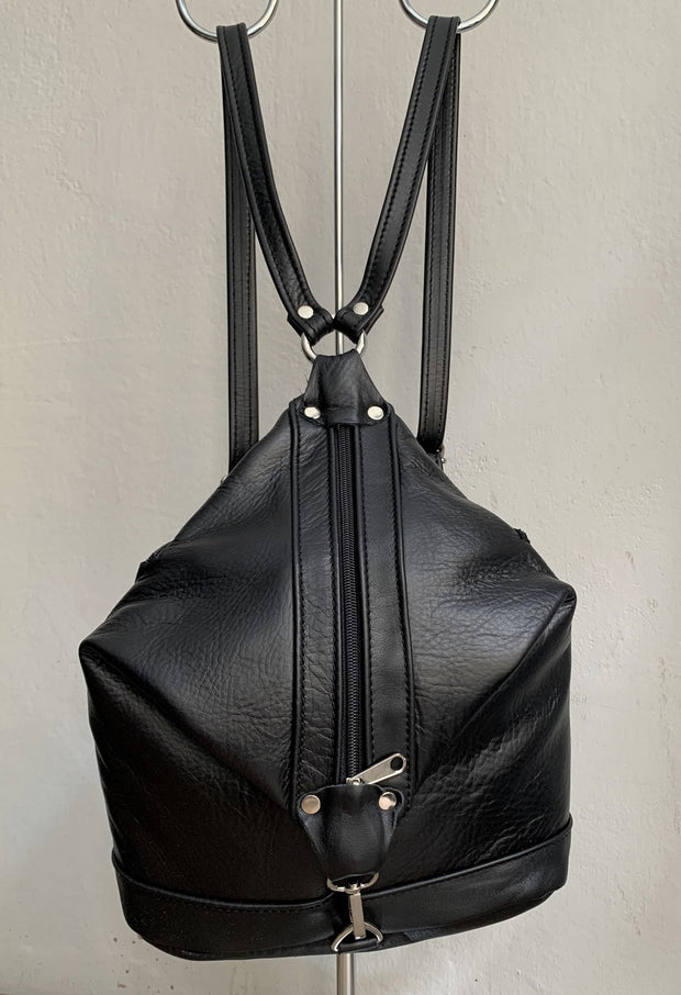 """Argo"" - small backpack handcrafted from soft black leather with brown details WT/67M"