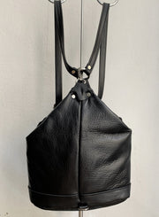 """Argo"" - small backpack handcrafted from soft black leather WT/67M"