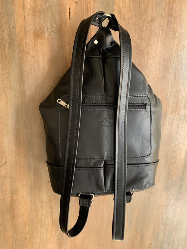 """Pinelopi"" - midsize backpack handcrafted from soft black leather WT/65M"